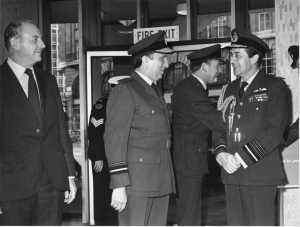 Bill Woodruff CNATS, AVM Ian Pedder (DCNATS?) hosting Chief of the Air Staff visiting CAA House 1980.