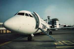 EGFF Cardiff control tower with Ryanair BAC1-11 November 1997