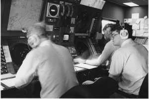 Far right, Mike Wild Controlling Sumburgh Inbounds and Outbounds warched by Michael Black. On left Peter Denny handling the offshore sector work