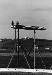 The Runway 27 ILS Localiser frames the ACR 430 radar inside the