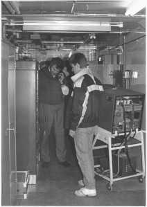 Mr A Ludlum on phone Mr A Stevens monitoring equipment