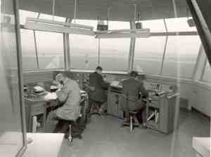 again 1940s peace time view Tower and approach plus an assistant