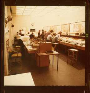 Preston Air Traffic Control Centre was located at Barton Hall and controlled the old Northern FIR from 52.30 n to 55N. Flight plan infomation arrived at the data extrcation cell on the left. and the Air Traffic Control Assistants (old title) prodced a starter