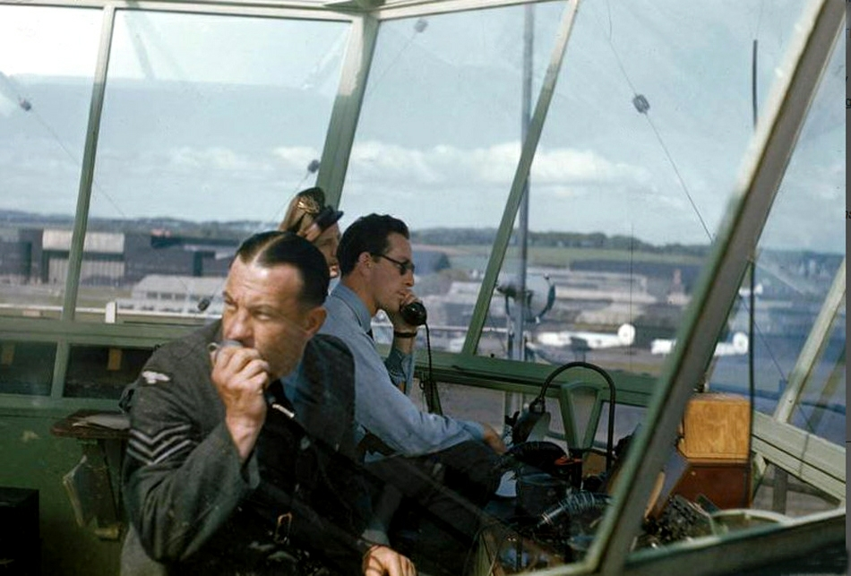Prestwick Tower 1944 American visitor in background