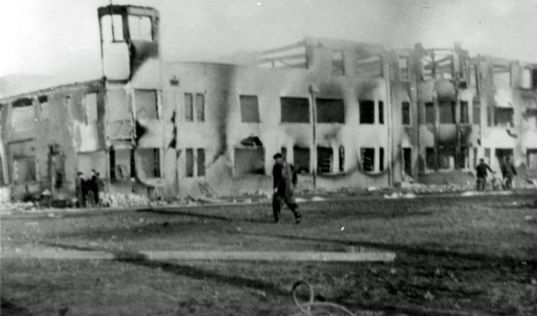Prestwick tower after pre-war fire