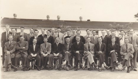 This is a Photo of Staff and Students of The Civil School Of Air Traffic Control at Hurn Airport , it was open from 1948 to 1962 .